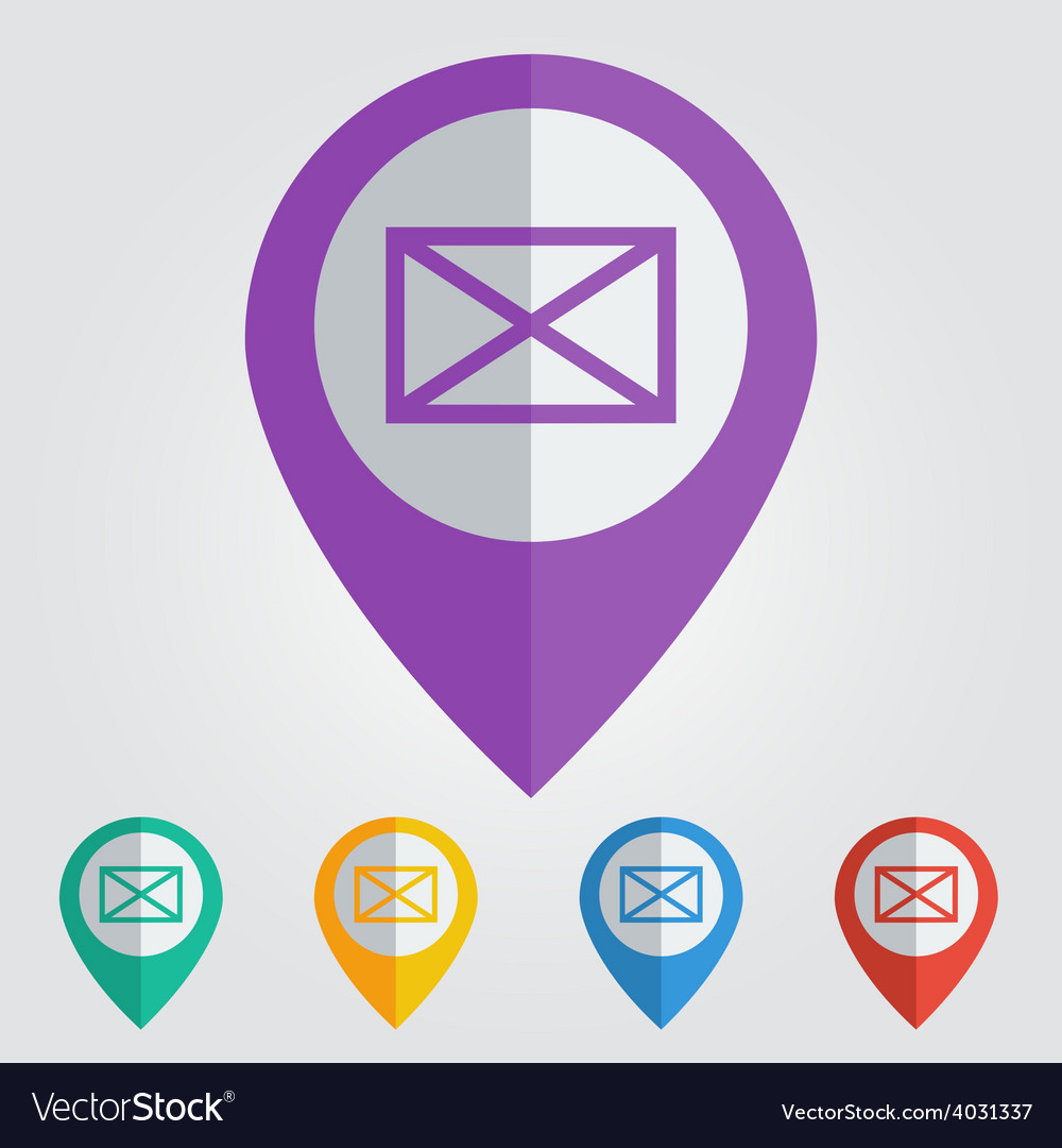 Flat pin with mail icon vector | Price: 1 Credit (USD $1)