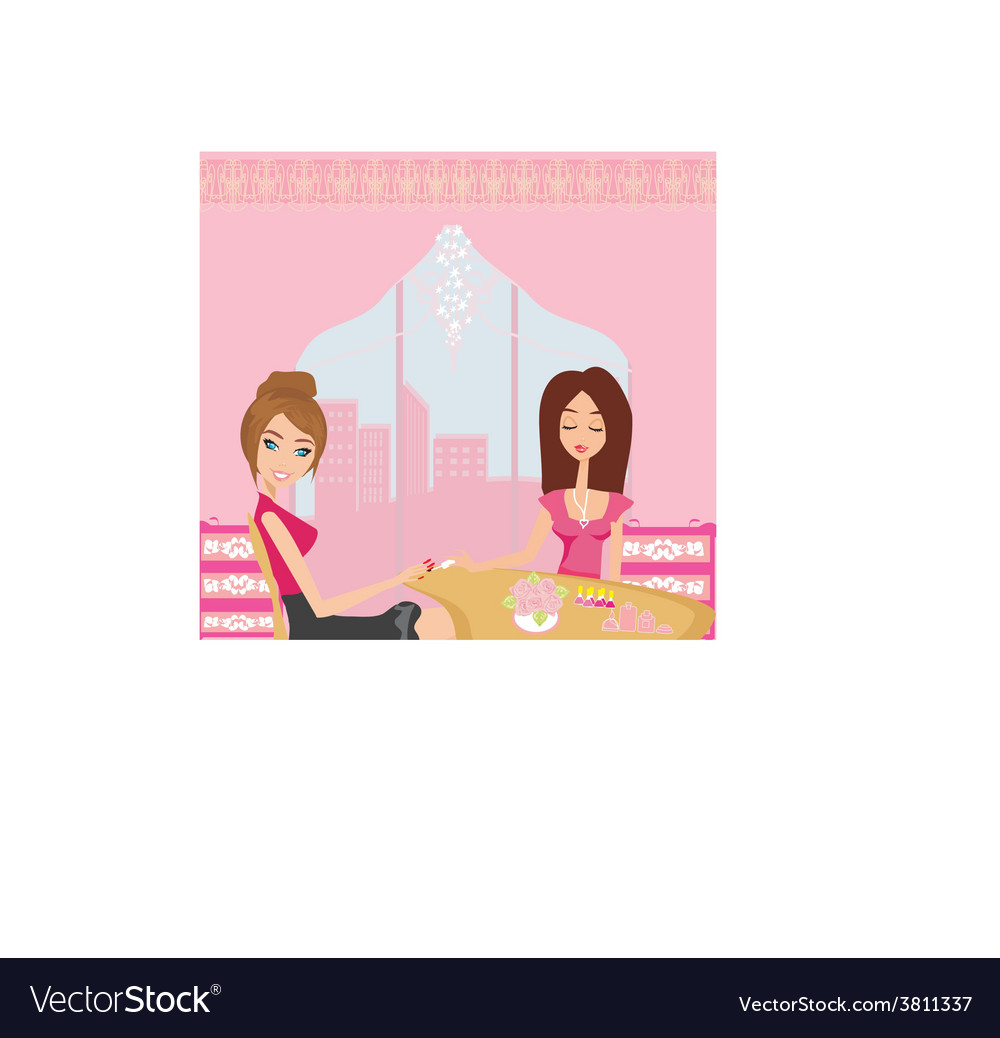 Girl doing manicure in beauty salon vector | Price: 1 Credit (USD $1)