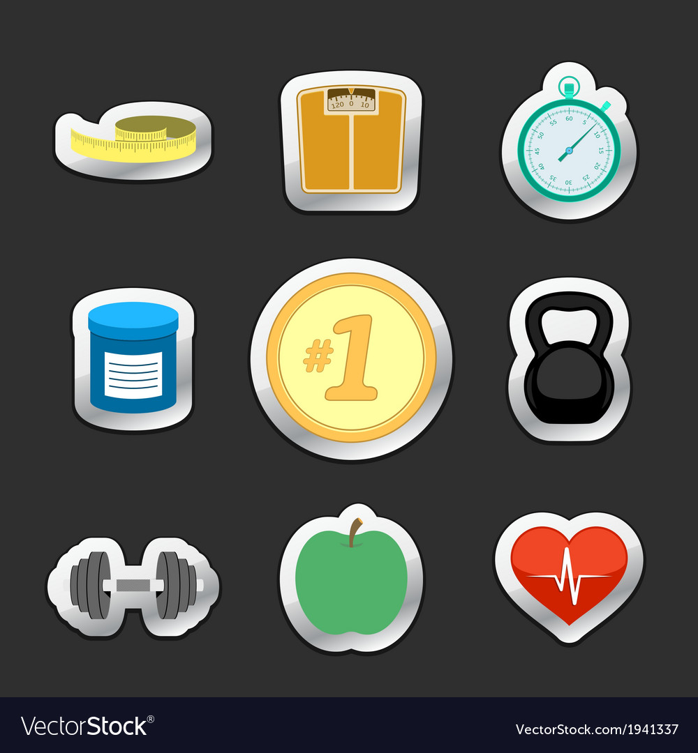 Healthy fitness lifestyle stickers vector | Price: 1 Credit (USD $1)