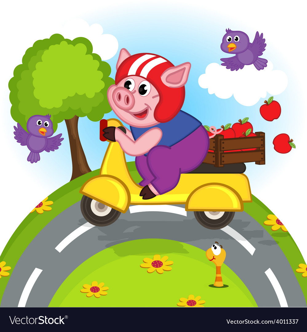 Pig riding a scooter vector | Price: 3 Credit (USD $3)