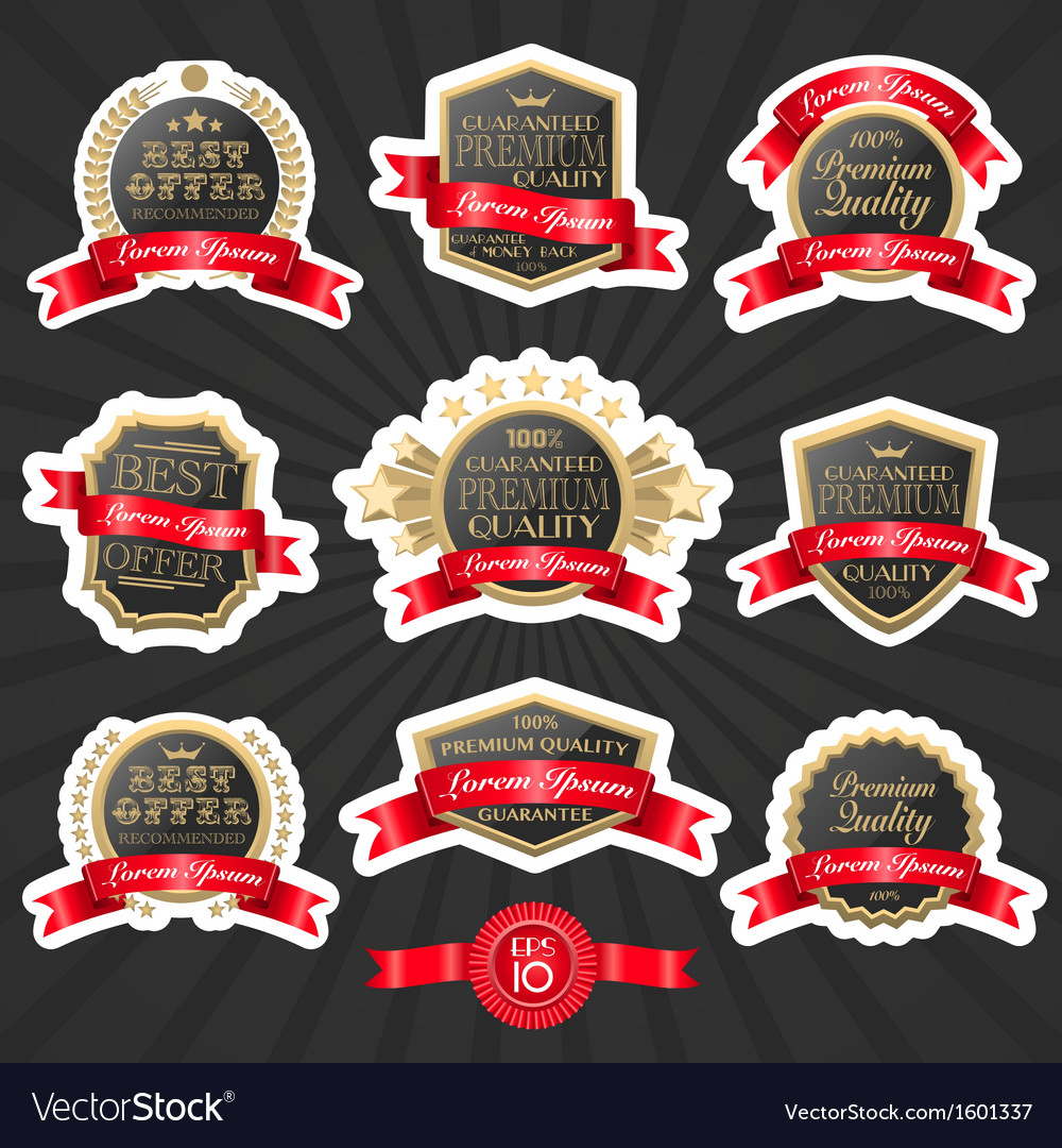Premium quality label set 1 vector | Price: 1 Credit (USD $1)