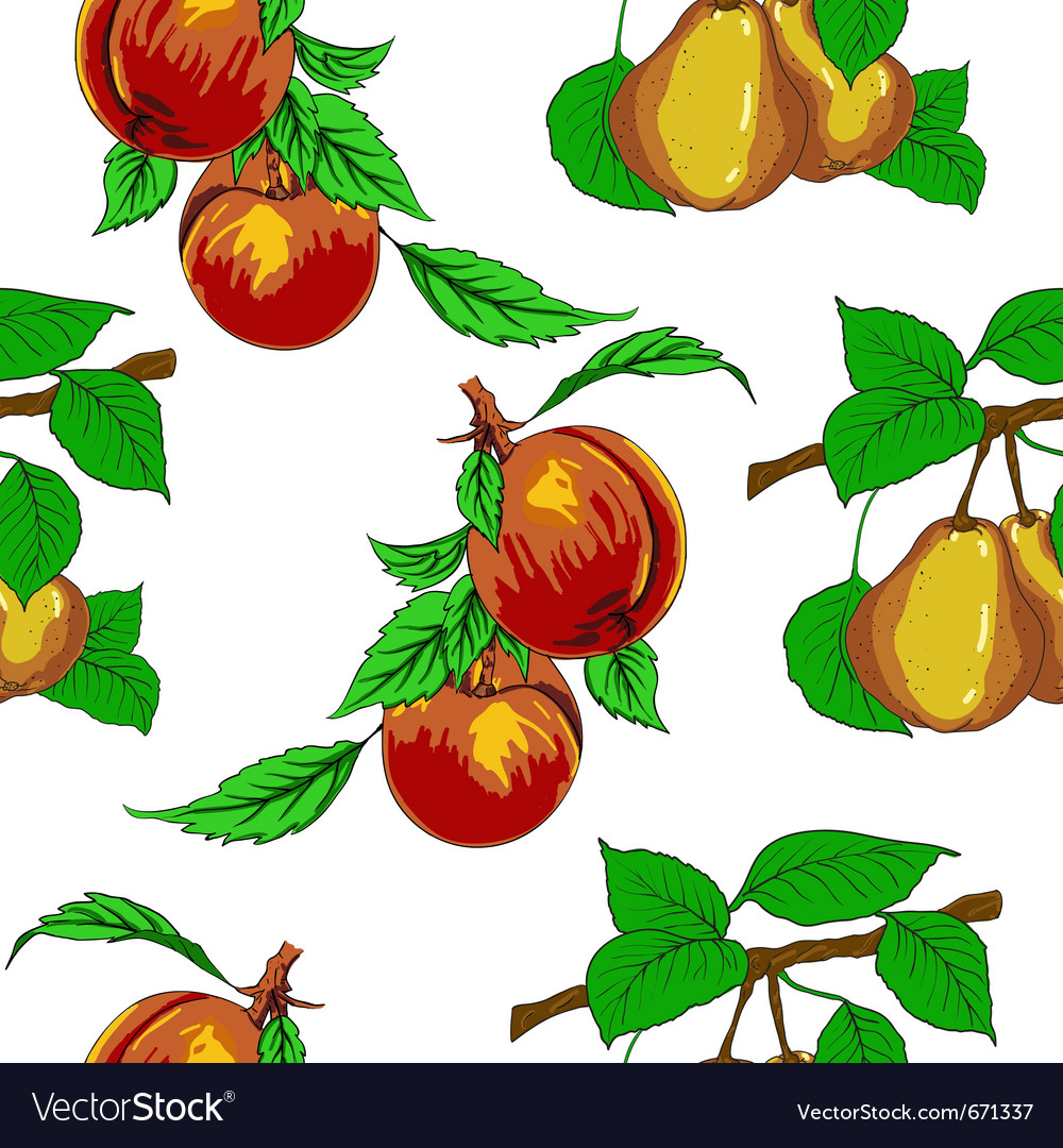 Seamless wallpaper with peaches and pears vector | Price: 1 Credit (USD $1)
