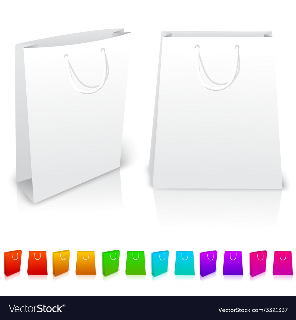 Set of isolated paper bags on white background vector | Price: 1 Credit (USD $1)
