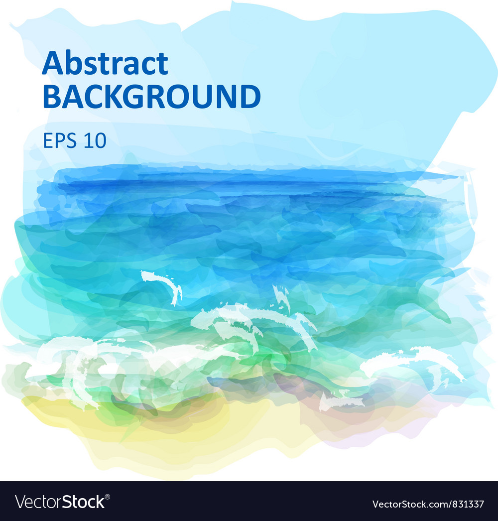 Watercolor seascape vector | Price: 1 Credit (USD $1)