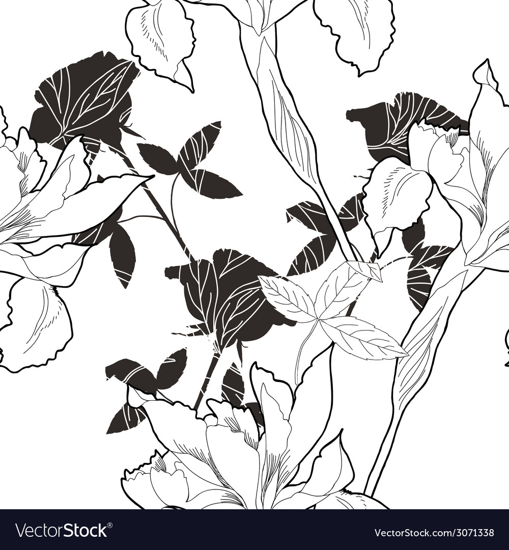 Black and white seamless pattern with flowers-10 vector | Price: 1 Credit (USD $1)