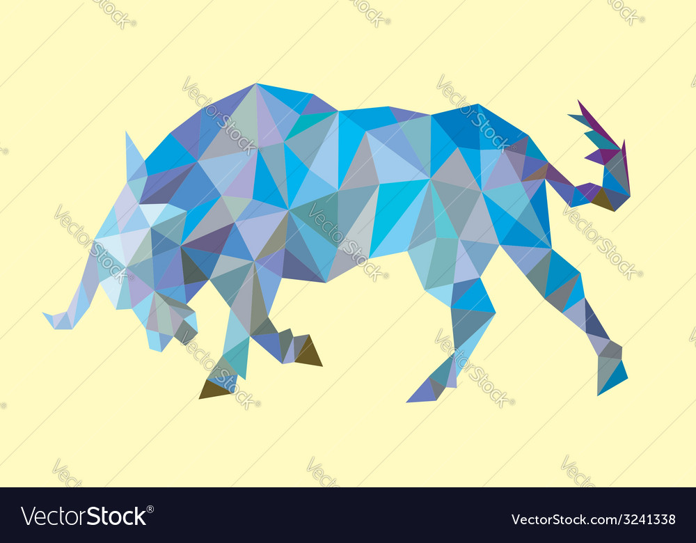 Bull low polygon style vector | Price: 1 Credit (USD $1)