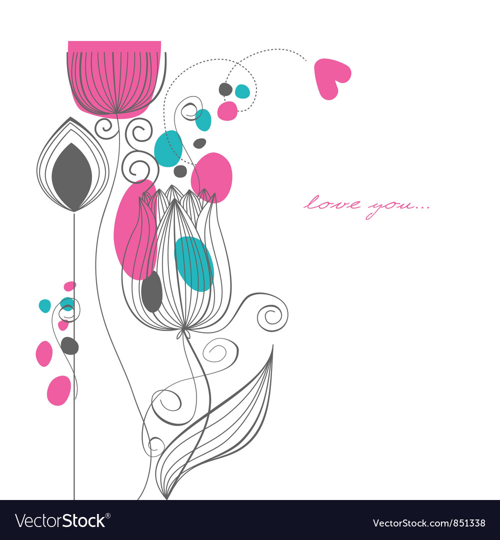 Flowers love message vector | Price: 1 Credit (USD $1)