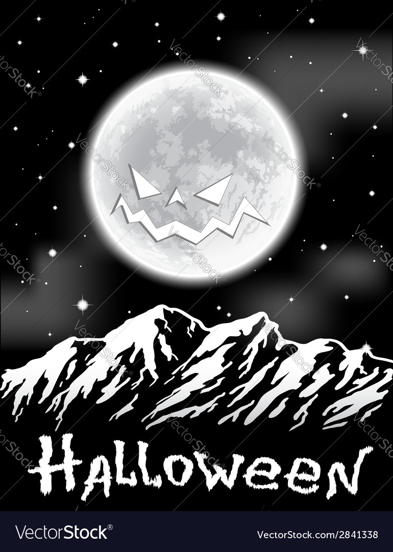 Halloween background with full moon over mountains vector | Price: 1 Credit (USD $1)