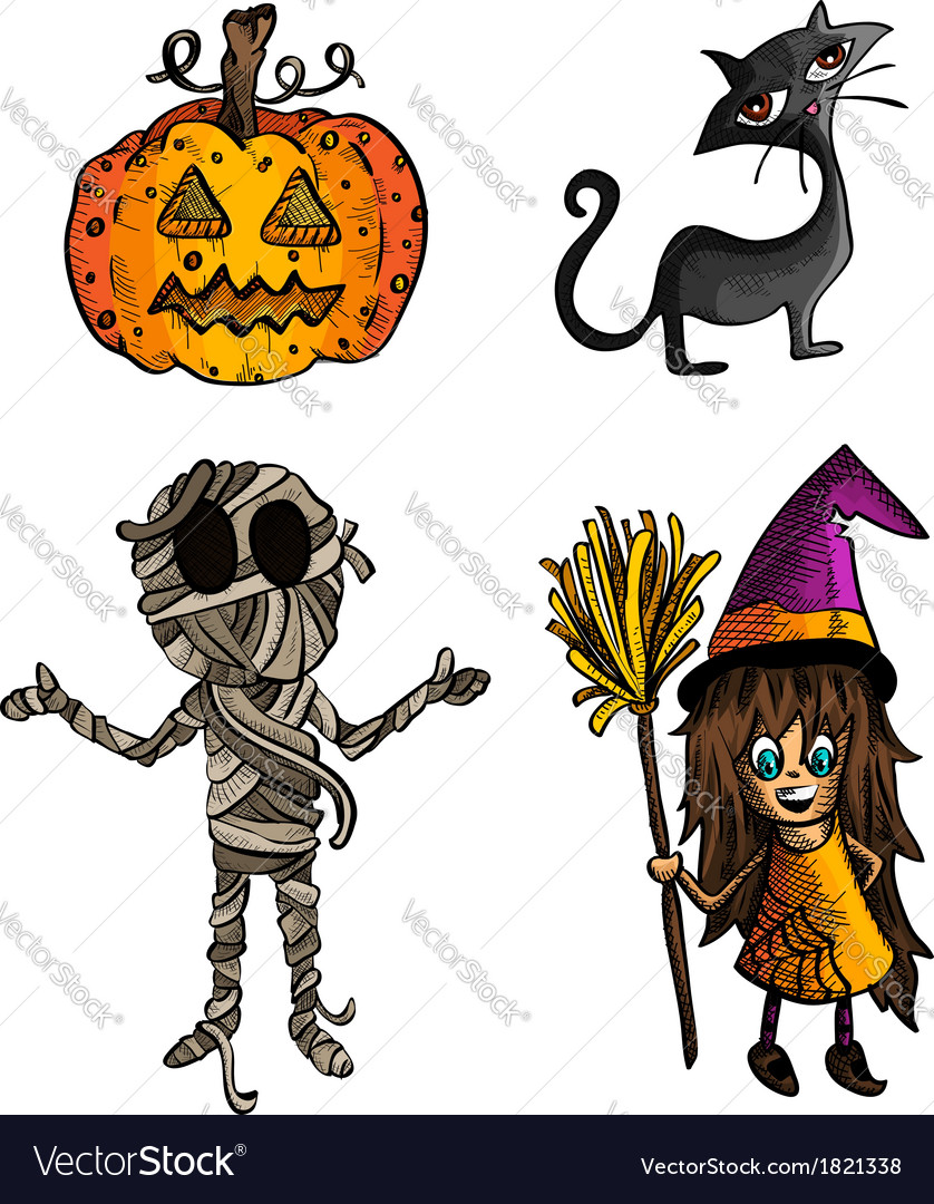 Halloween monsters isolated sketch style creatures vector | Price: 1 Credit (USD $1)