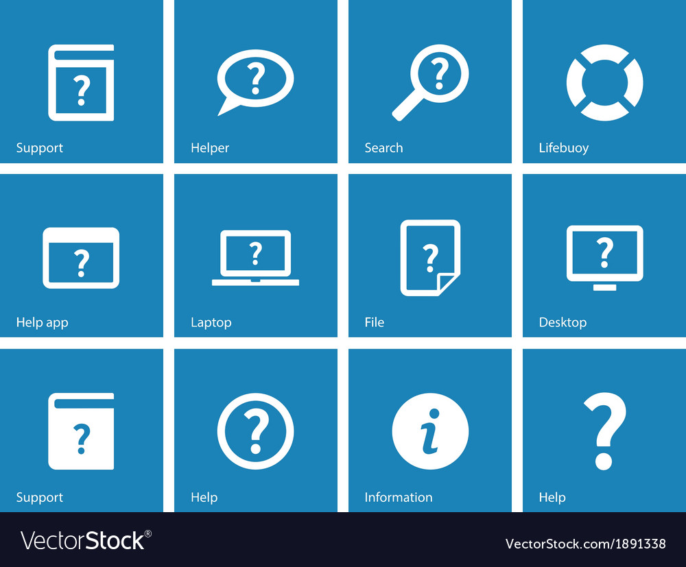 Help and faq icons on blue background vector | Price: 1 Credit (USD $1)