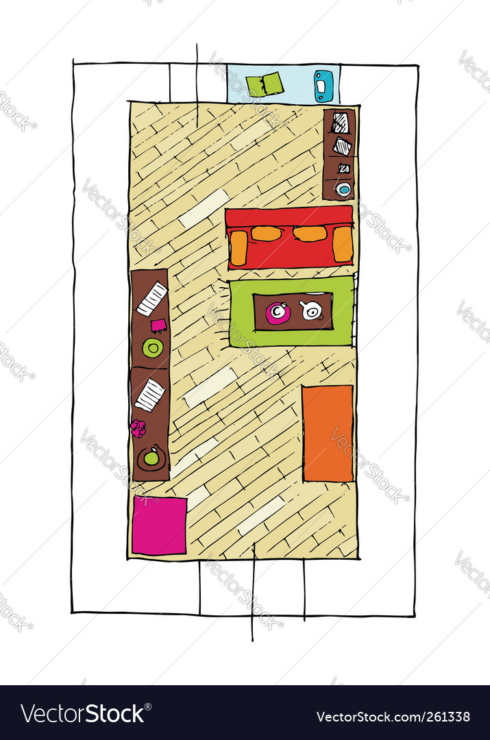 Interior design apartments top view vector | Price: 1 Credit (USD $1)