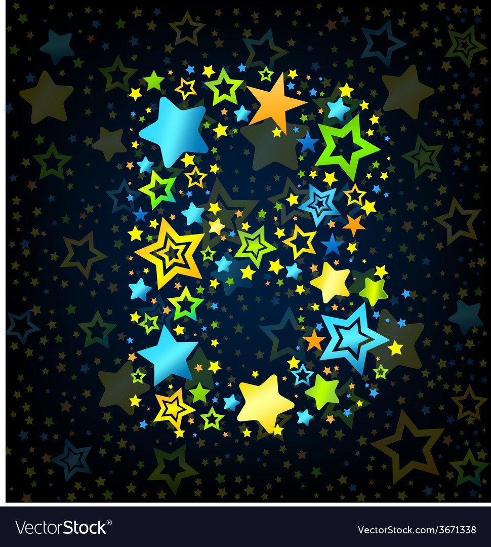 Letter b cartoon star colored vector | Price: 1 Credit (USD $1)