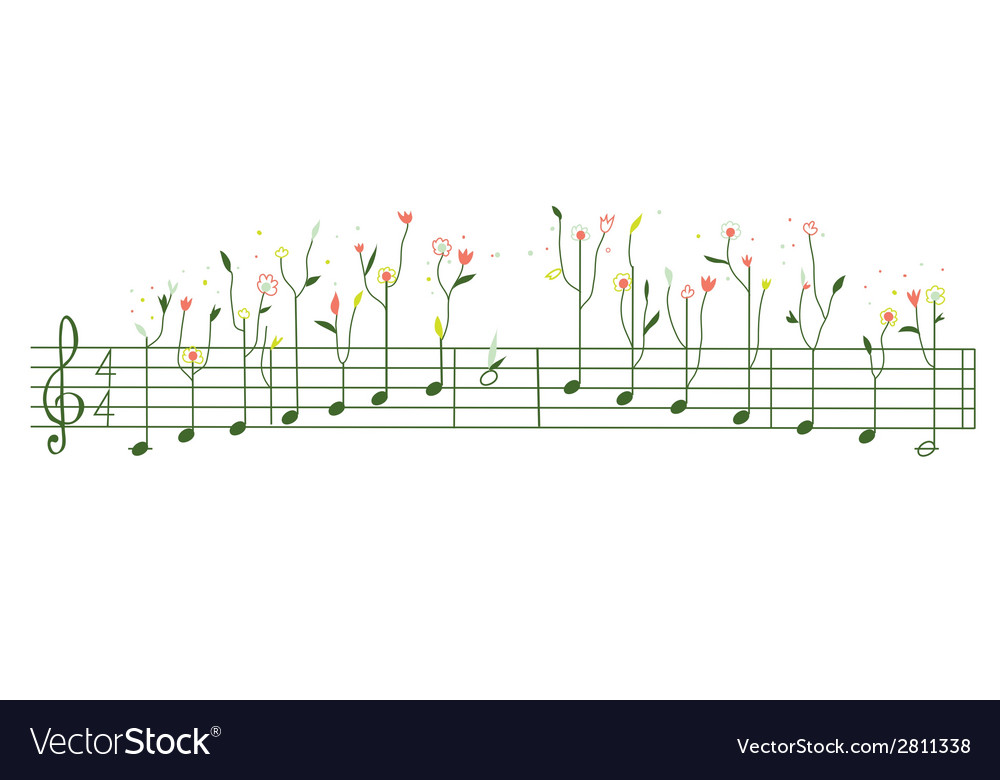 Melody with flowers - gamma cute vector | Price: 1 Credit (USD $1)
