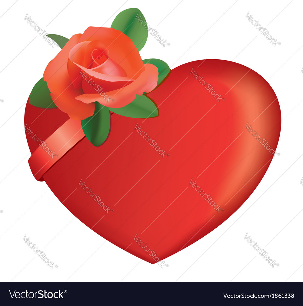 Red heart and rose vector | Price: 1 Credit (USD $1)