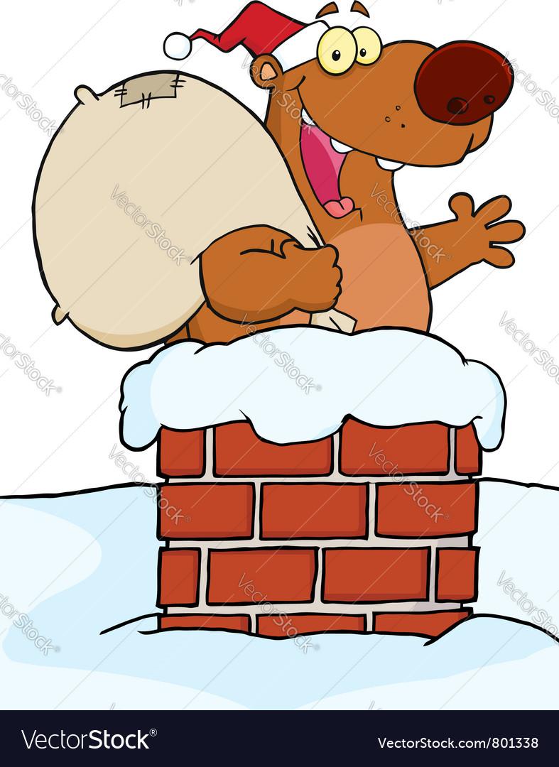 Santa bear in a chimney vector | Price: 1 Credit (USD $1)