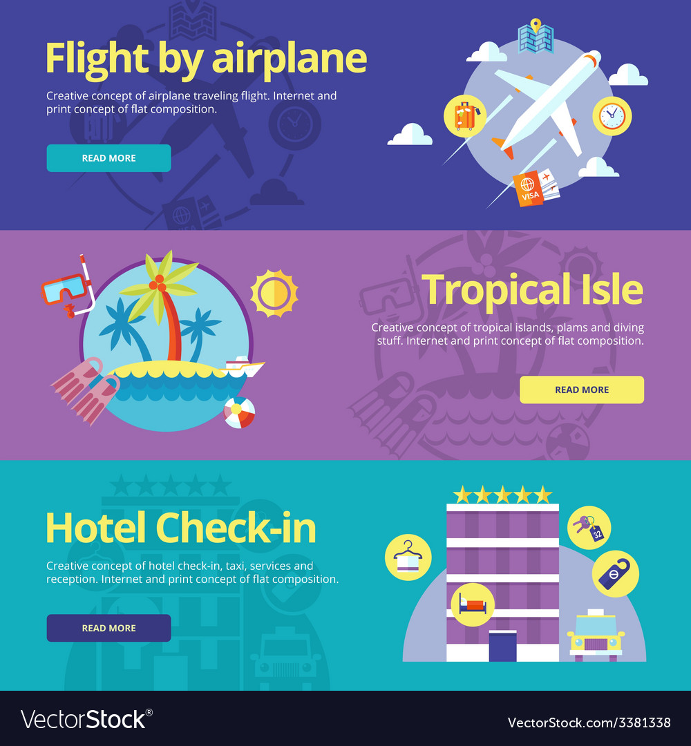 Set of flat design concepts for flight by plane vector | Price: 1 Credit (USD $1)