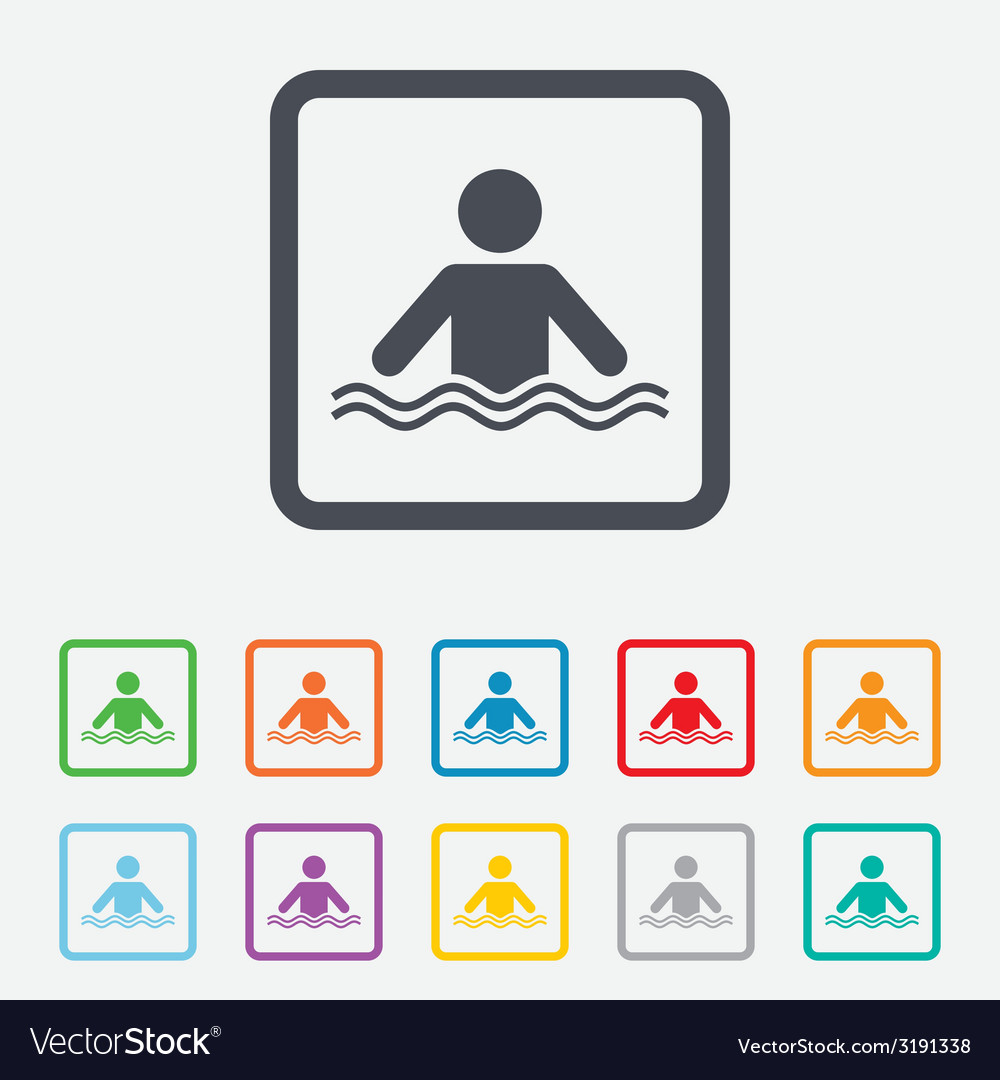Swimming sign icon pool swim symbol vector | Price: 1 Credit (USD $1)