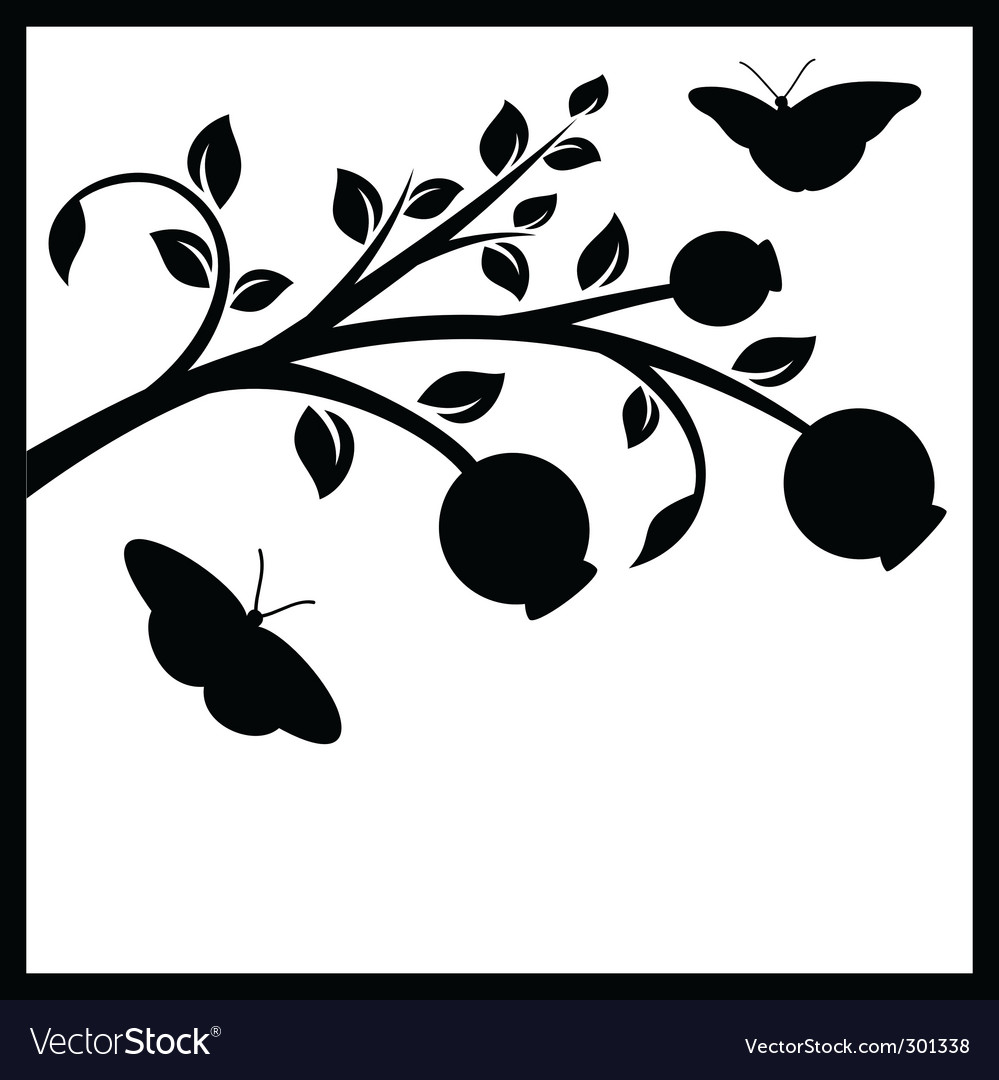 Tree branch and butterflies vector | Price: 1 Credit (USD $1)