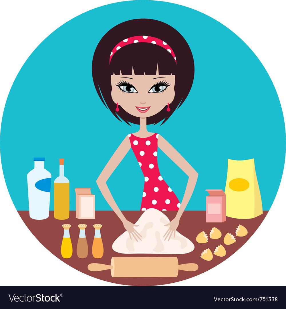 Woman prepares dough vector | Price: 3 Credit (USD $3)