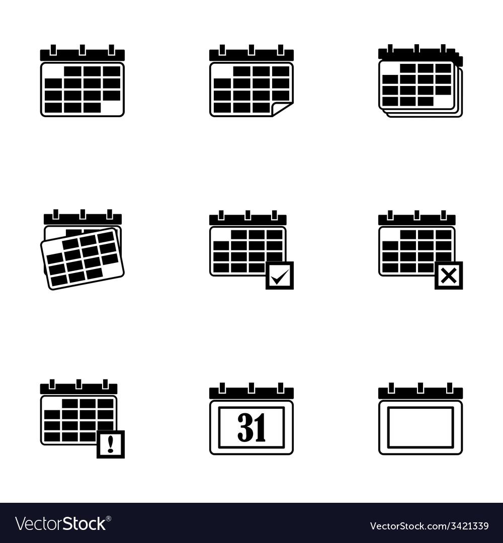 Black calendar icon set vector | Price: 1 Credit (USD $1)