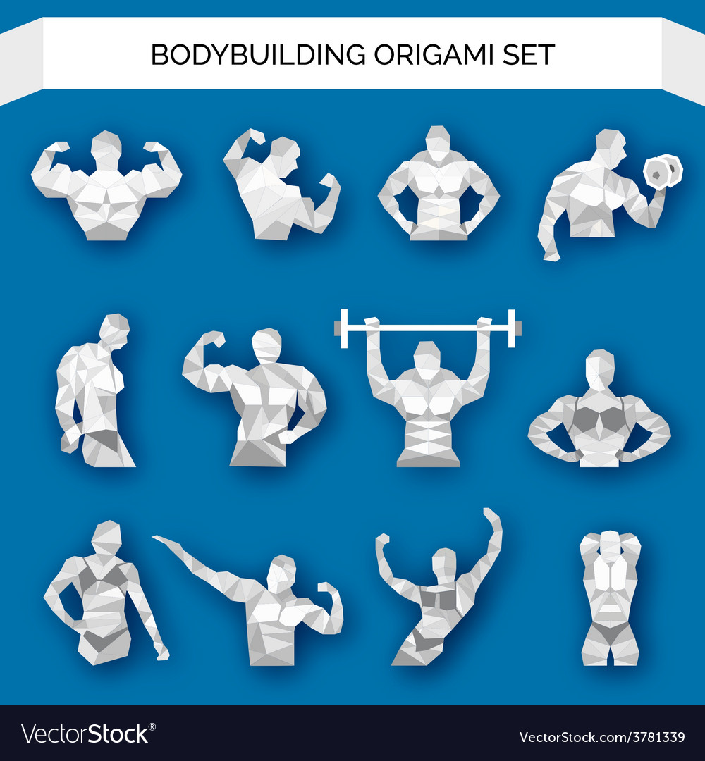 Bodybuilding polygonal white vector | Price: 1 Credit (USD $1)