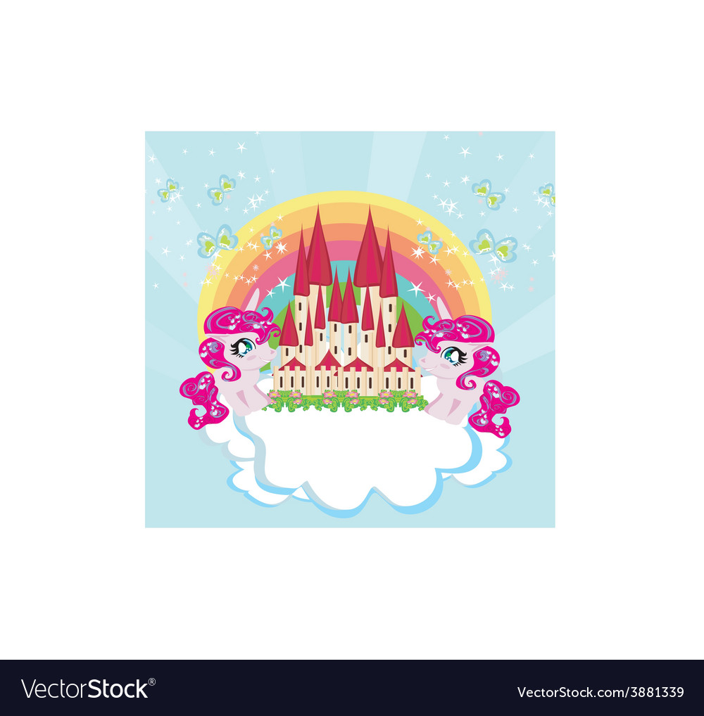 Card with a cute unicorns rainbow and fairy-tale vector | Price: 1 Credit (USD $1)