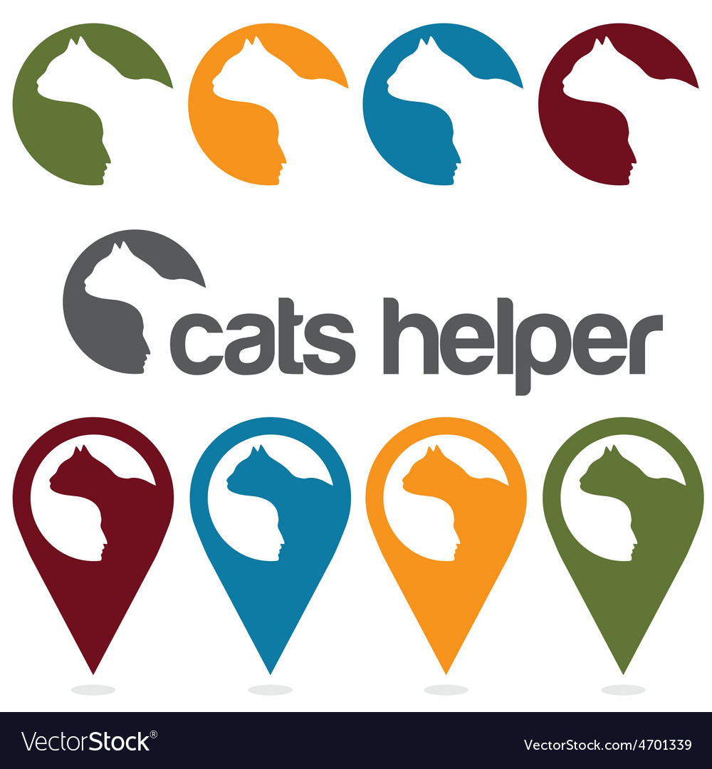 Cats helper design template pins and web icons set vector | Price: 1 Credit (USD $1)
