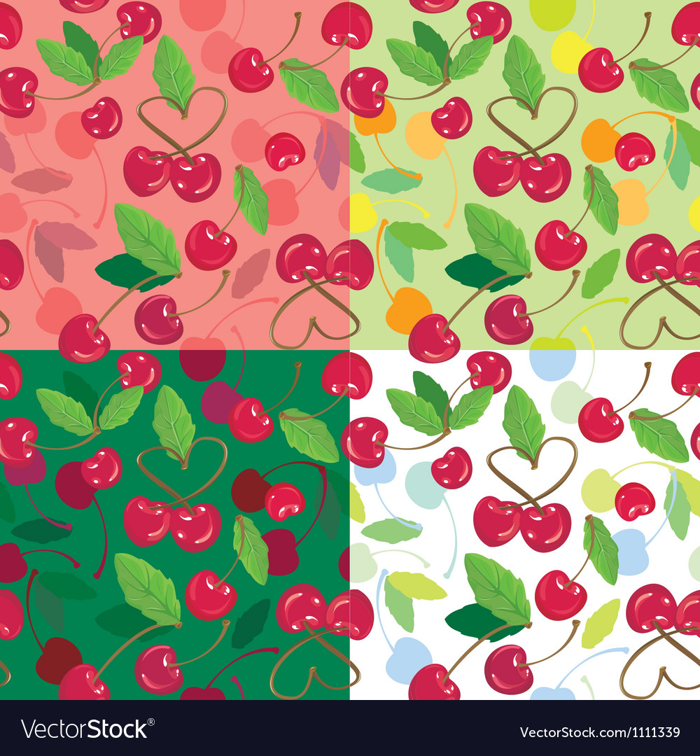 Cherry seamless pattern vector | Price: 1 Credit (USD $1)