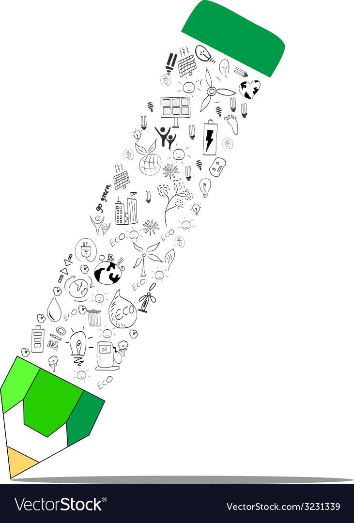Environment education concept pencil vector   Price: 1 Credit (USD $1)