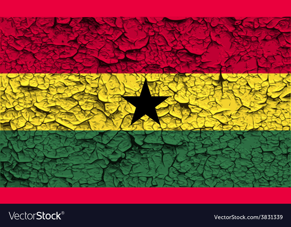 Flag of ghana with old texture vector | Price: 1 Credit (USD $1)