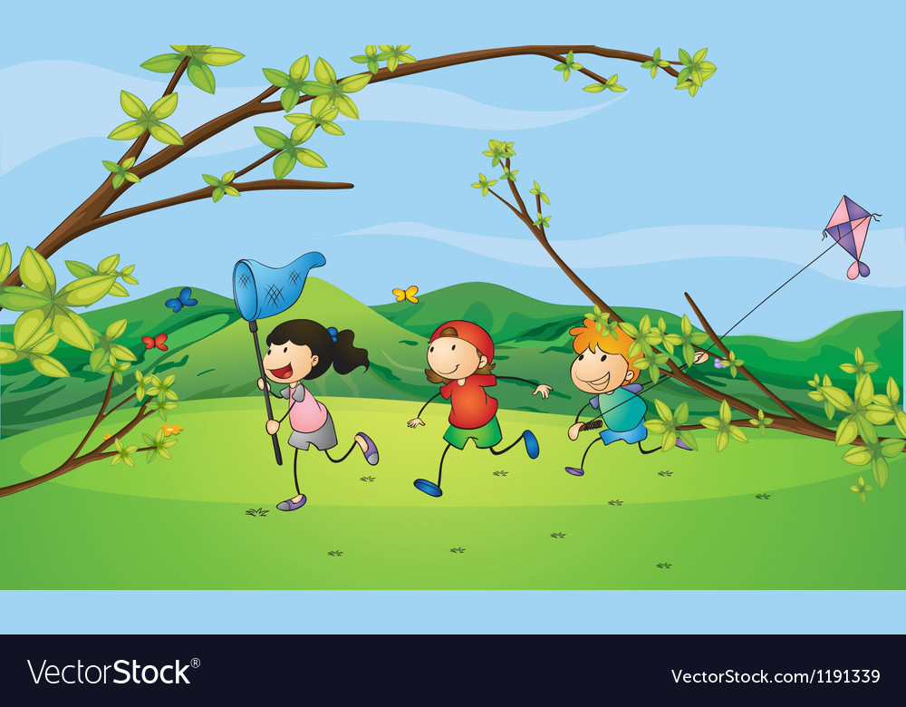 Kids catching the butterflies vector | Price: 1 Credit (USD $1)