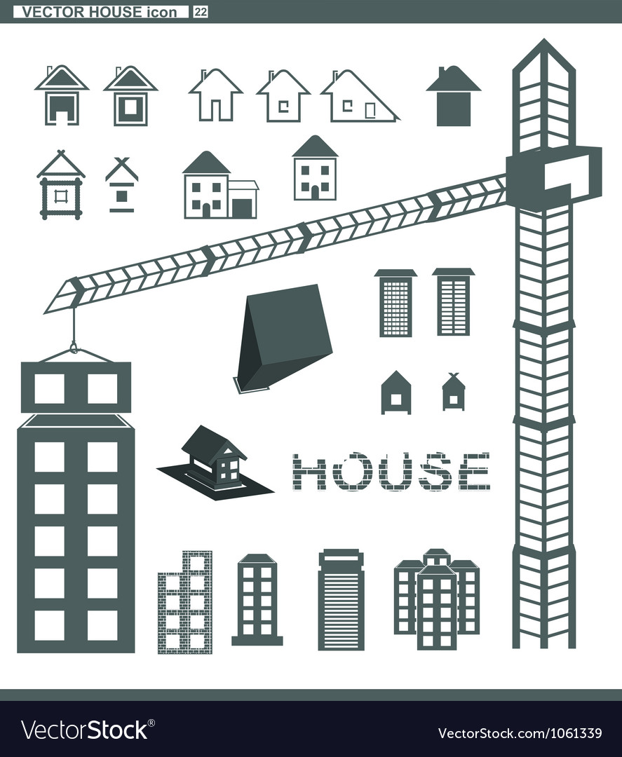 Set icons building and houses vector | Price: 1 Credit (USD $1)