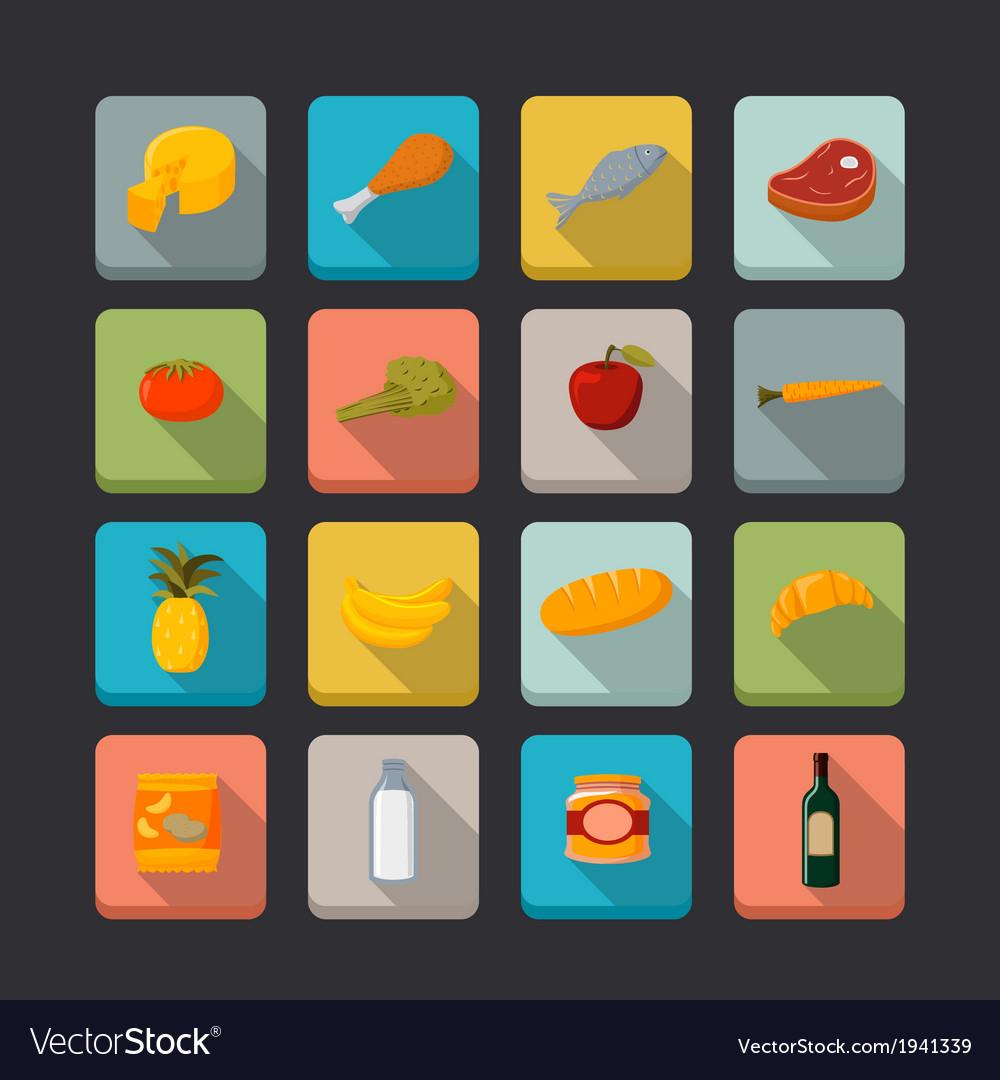 Supermarket foods icons set vector | Price: 1 Credit (USD $1)