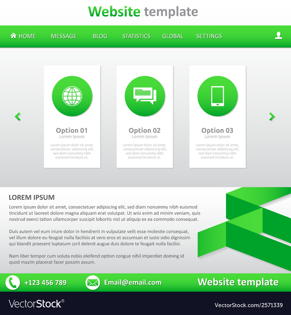Website template white and green vector | Price: 1 Credit (USD $1)