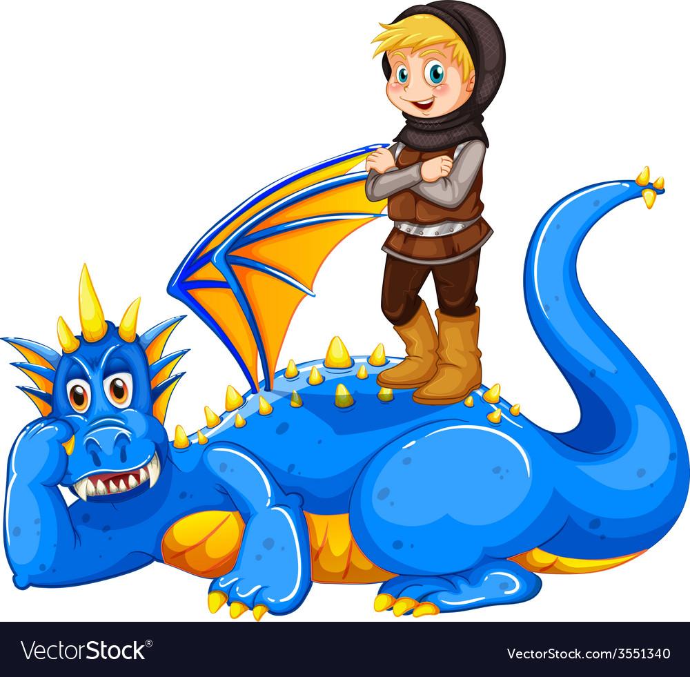 A boy taming the dragon vector | Price: 3 Credit (USD $3)