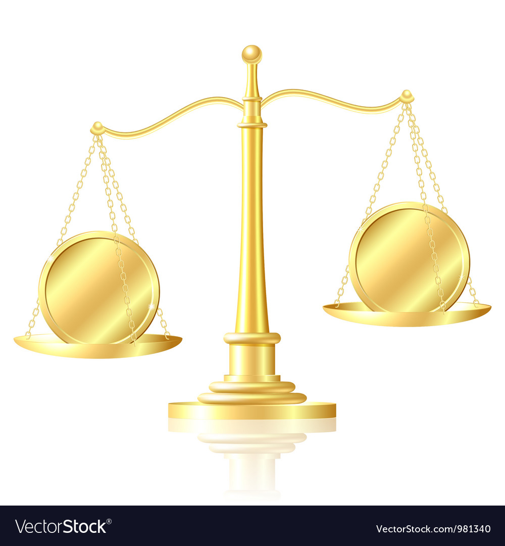 Coin outweighs another coin on scales vector | Price: 1 Credit (USD $1)
