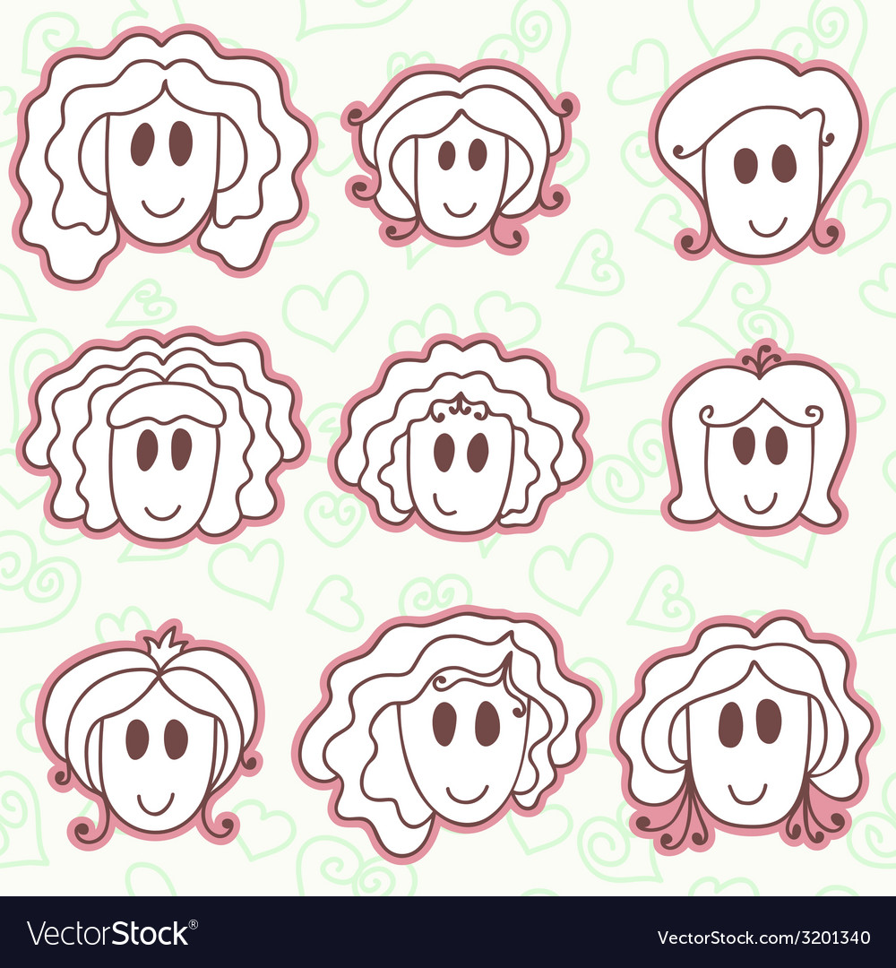 Cute smiling faces vector | Price: 1 Credit (USD $1)