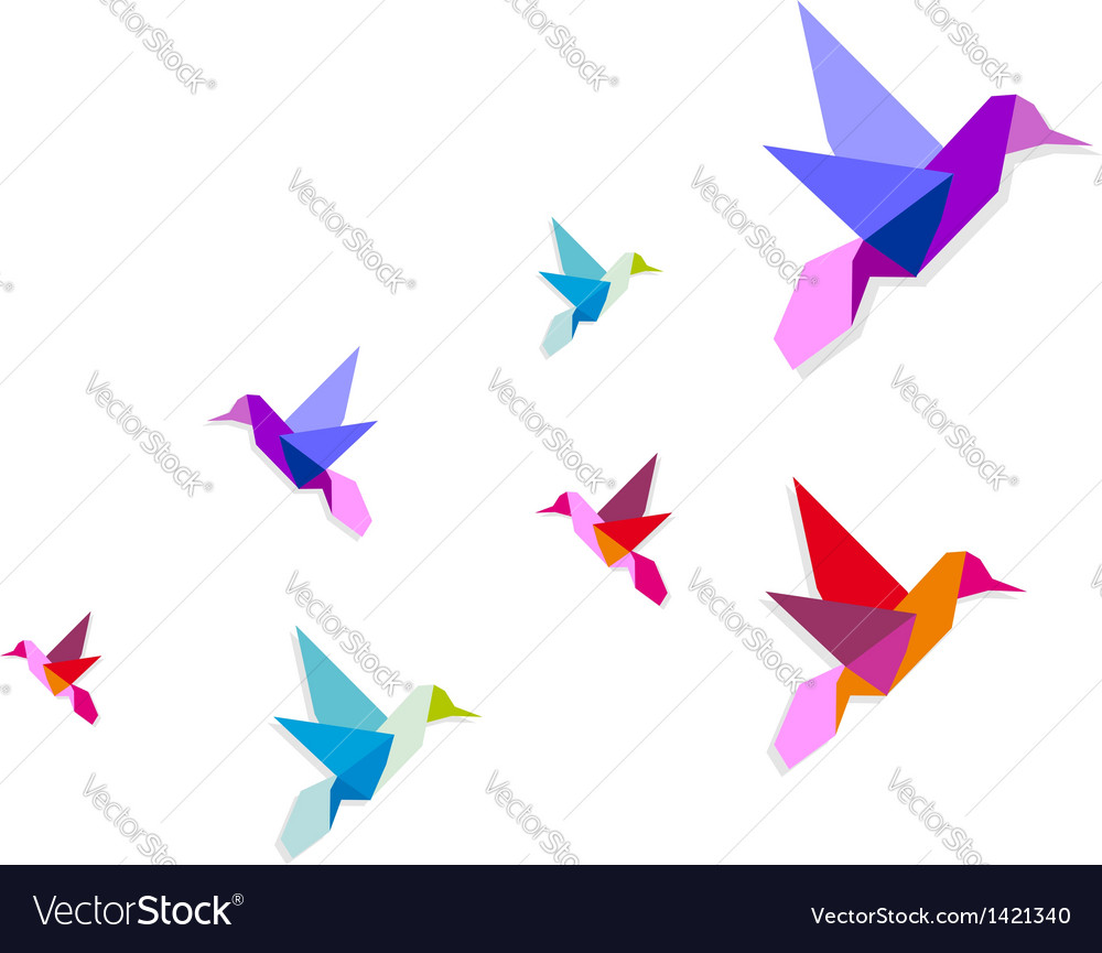 Group of various origami hummingbirds vector | Price: 1 Credit (USD $1)