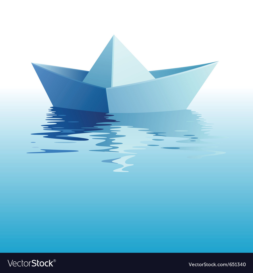 Paper ship on water vector | Price: 1 Credit (USD $1)