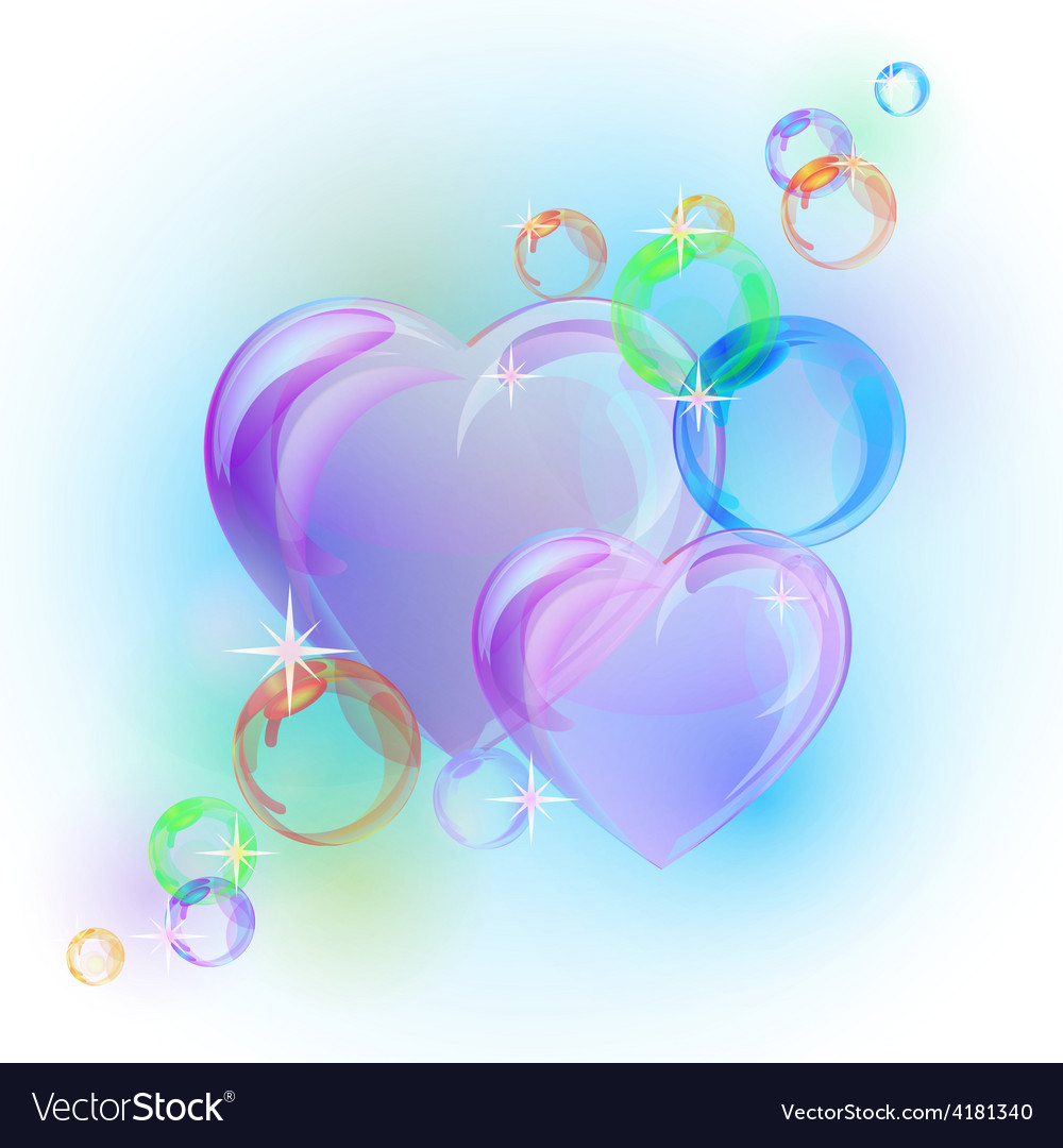 Romantic background with colorful bubble hearts vector | Price: 1 Credit (USD $1)