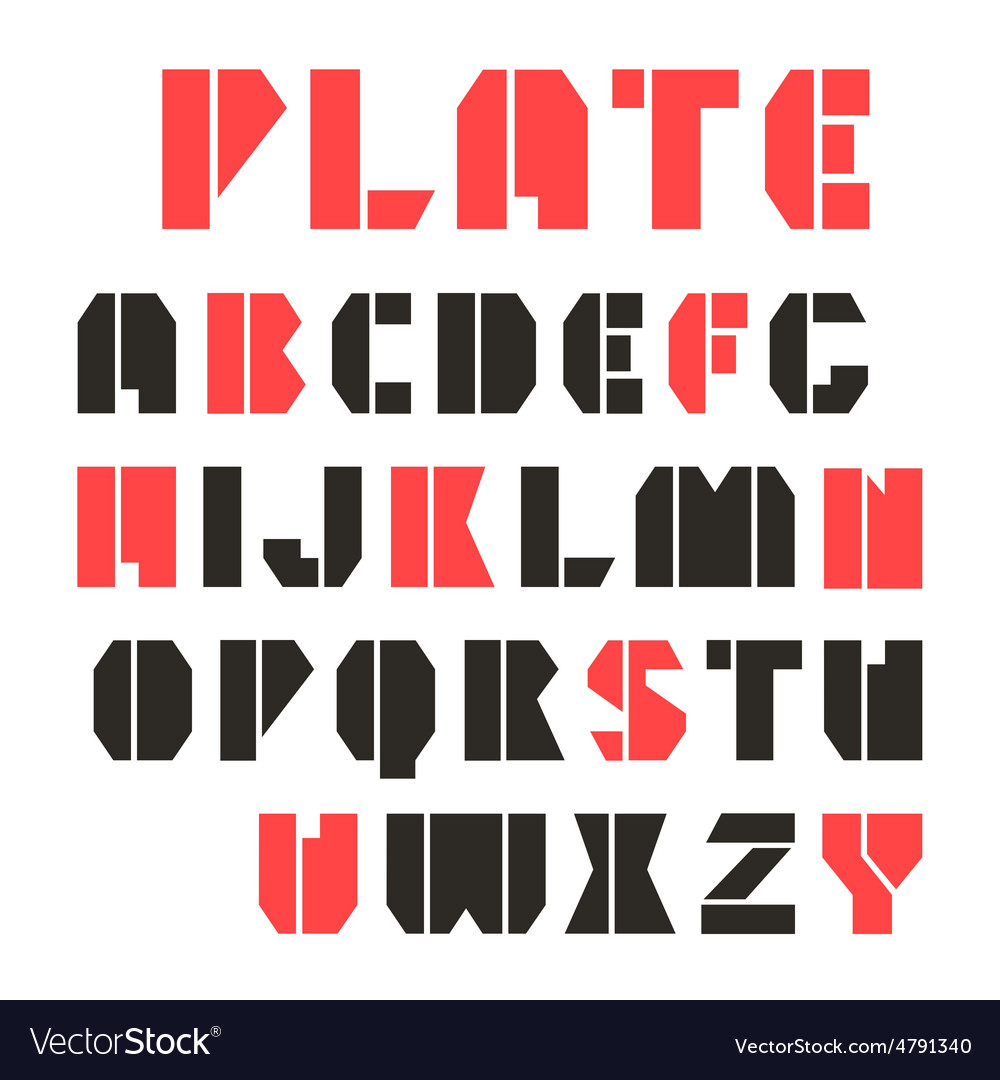 Sans serif stencil plate font and numeral vector | Price: 1 Credit (USD $1)