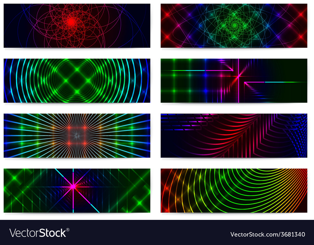 Set of horizontal elegant iridescent banners vector | Price: 1 Credit (USD $1)
