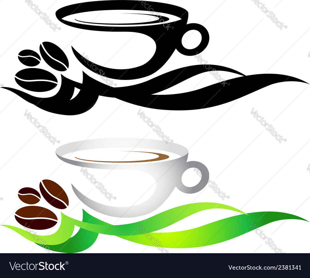Cup of coffee with grains vector | Price: 1 Credit (USD $1)