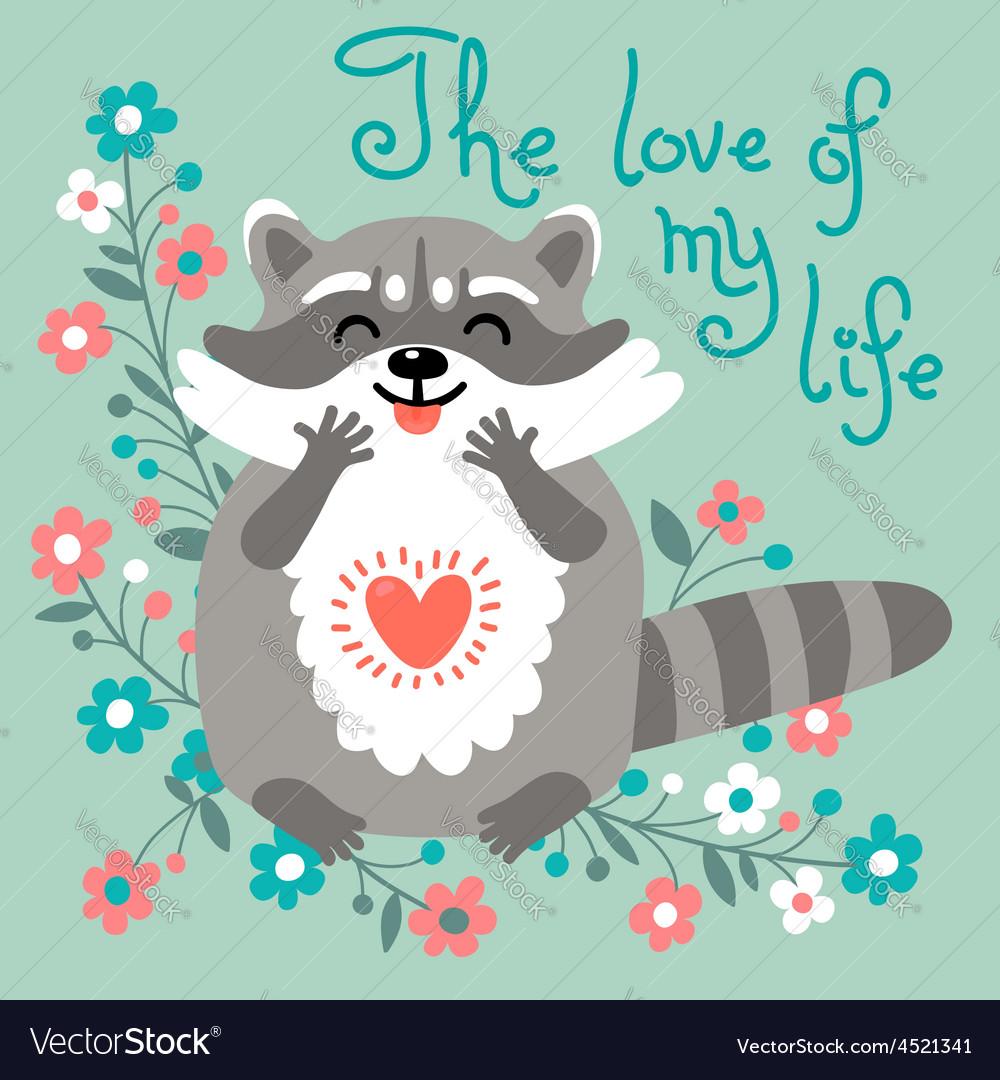 Cute raccoon confesses his love vector | Price: 1 Credit (USD $1)