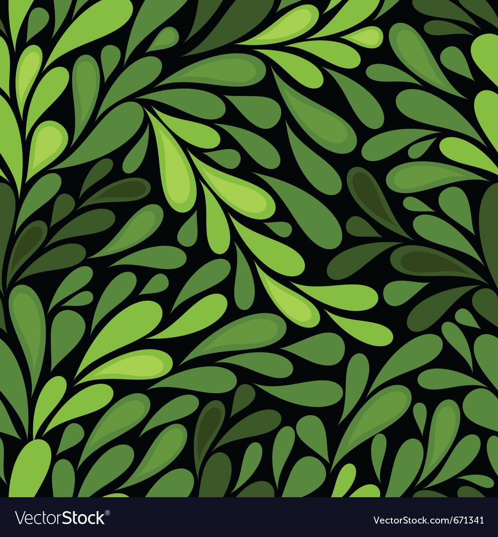 Dark seamless pattern with green leaves vector | Price: 1 Credit (USD $1)