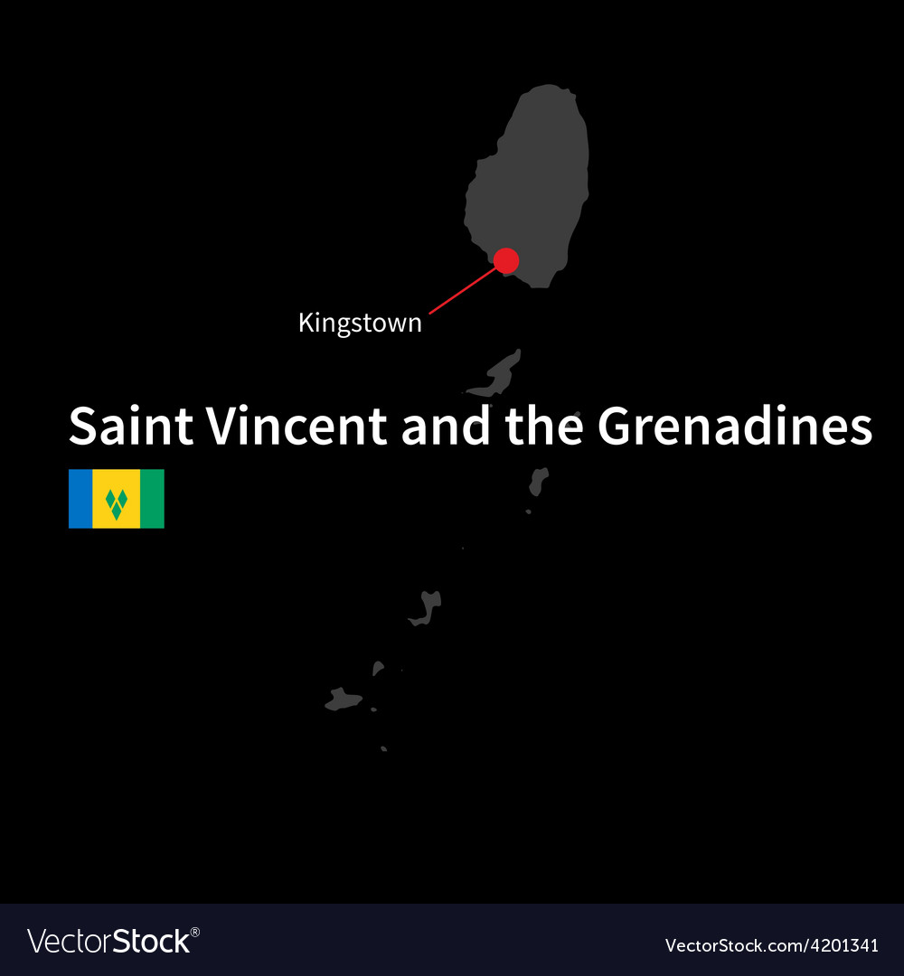 Detailed map of saint vincent and the grenadines vector | Price: 1 Credit (USD $1)