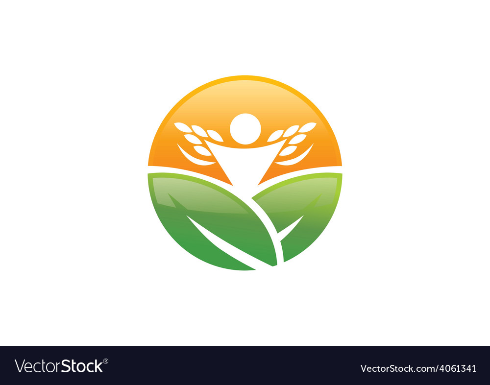 Farm leaf plant people success nature logo vector | Price: 1 Credit (USD $1)