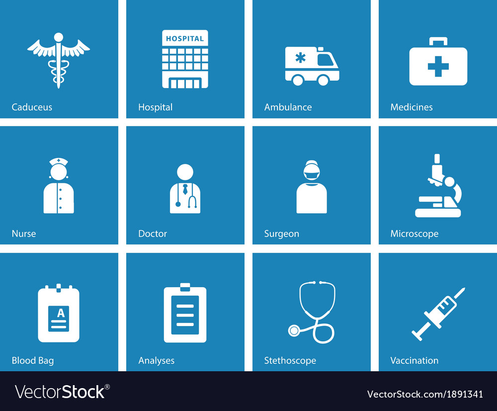 Hospital icons on blue background vector   Price: 1 Credit (USD $1)