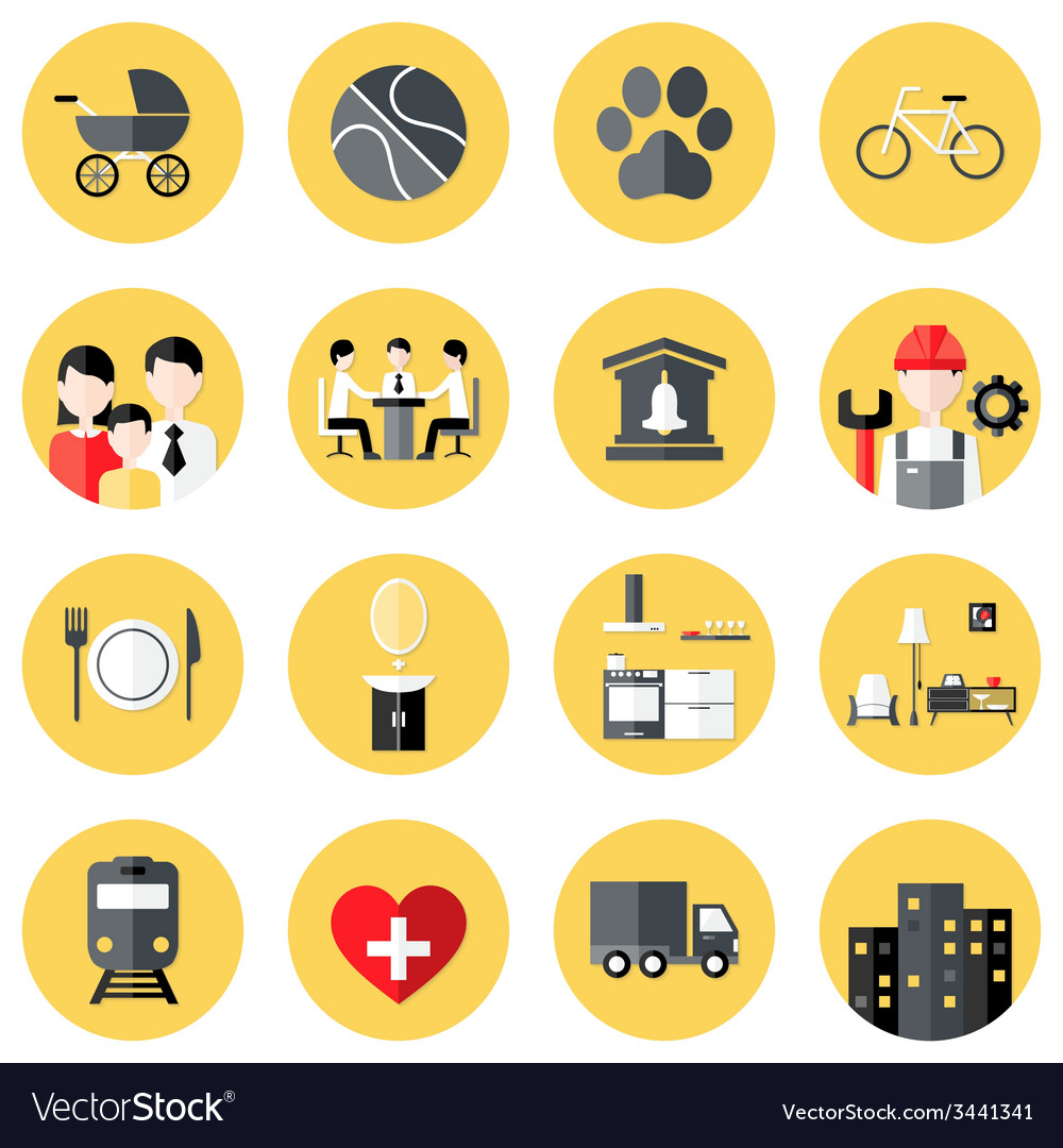 People interests flat circle icons set over yellow vector | Price: 1 Credit (USD $1)