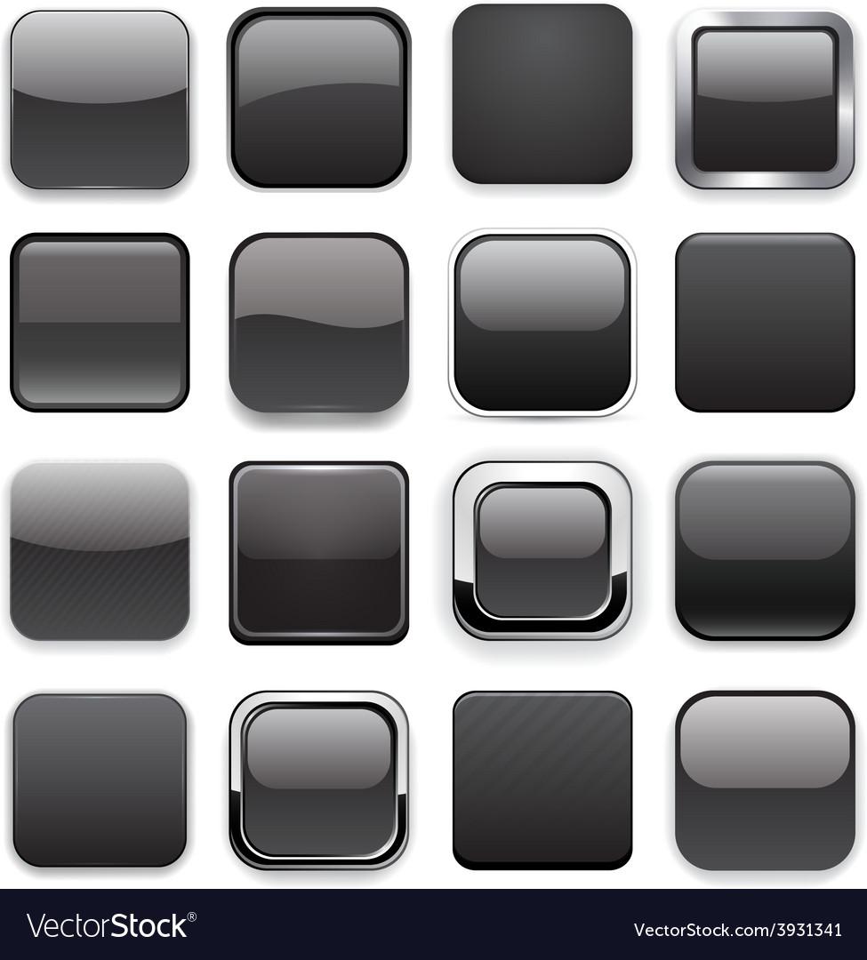 Square black app icons vector | Price: 1 Credit (USD $1)